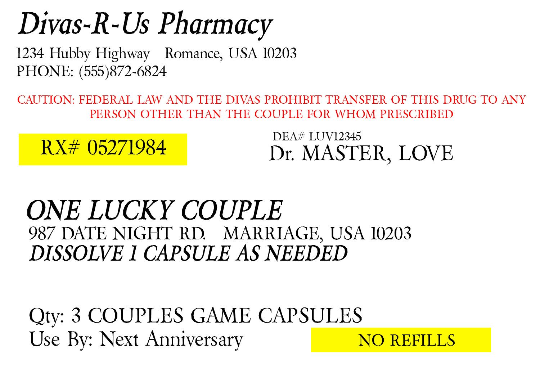 Prescription For Fun A Free Printable Romance Idea