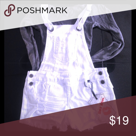Overall shorts ... white Super cute and comfortable overall shorts great for lounging around over a bathing suit etc ... Hot Kiss Shorts Jean Shorts