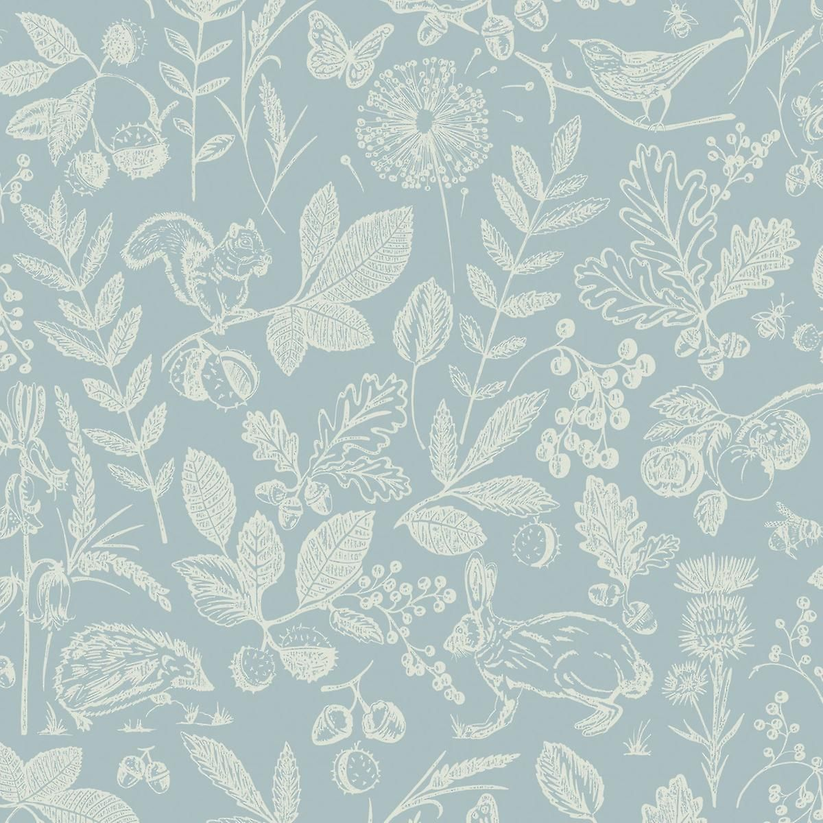 Country Folk Woodland Wallpaper Blue Arthouse 697300 This