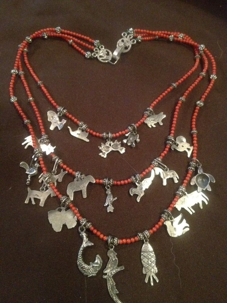 Image of Sterling and Coral Milagro Necklace from Oaxaca ...