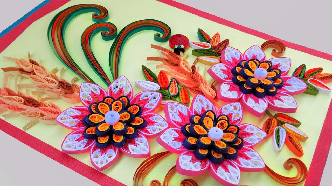 Paper Quilling Card Beautiful Quilling 3d Flower Quilling