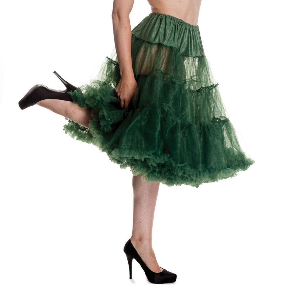 hell bunny plus size 1950s forest green long soft fluffy petticoat