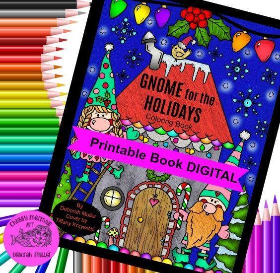GNOME Christmas Coloring Book Digital, printable cute ...