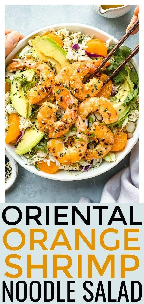 Gesunde Orange Shrimp Ramen Nudelsalat - Sticky, süß und zitrisch dünn oran ...   - No Spoon Necessary Recipes -
