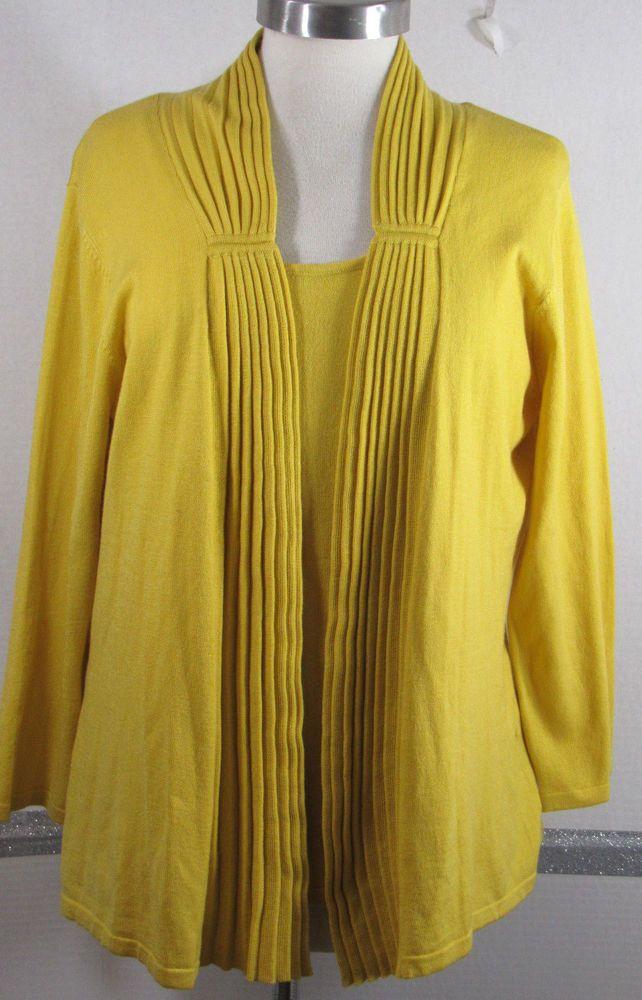 Chadwick Sweater Set XL Mustard Yellow Acrylic Nylon Long sleeve ...