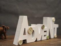 Deko-Schriftzug Advent aus Holz, weiß