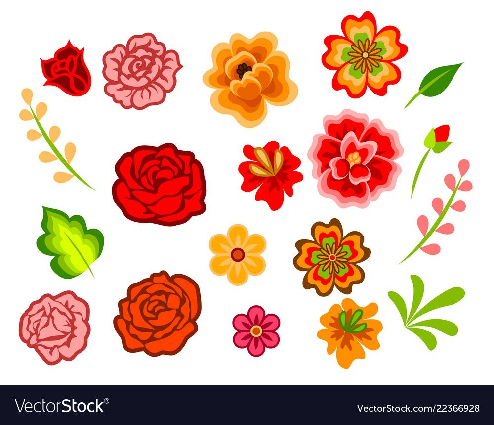 Mexican Flowers Isolated On White Decoration For Day Of The Dead Download A Free Preview Or High Qu Mexican Flowers Flower Illustration Floral Pattern Vector