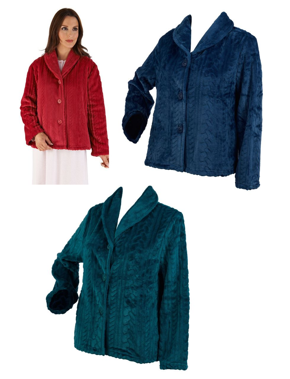 These soft and warm house coats have a cable pattern throughout and are  made from 100% super soft coral fleece f9de4d879