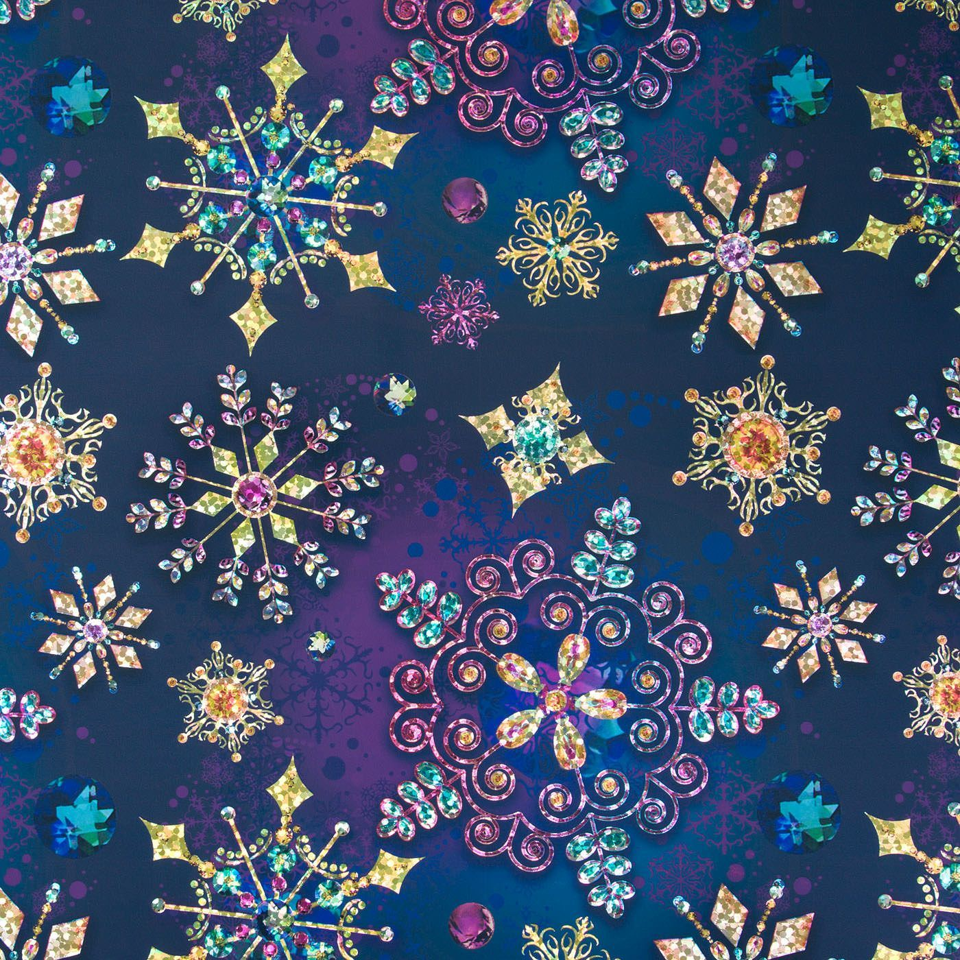 Papyrus Foil Christmas Wrapping Paper Holographic Snowfl Jewel Tone Snowflakes