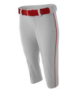 A4 Adult Softball Pant With Cording Nw6188 Grey Scarlet Red
