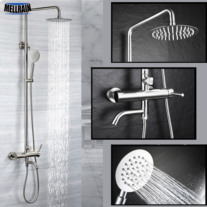 304 Stainless Steel Bathroom Rain Shower Set Out Wall Mounted 8 Inch Bath Shower Faucet Quality Brushed Si Shower Faucet Stainless Steel Bathroom Bathroom Rain