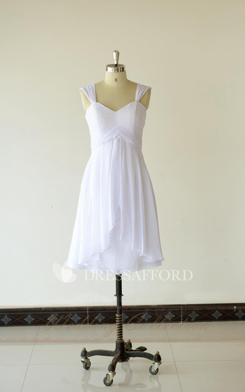 Queen anne chiffon highlow short dress with pleats and zipper