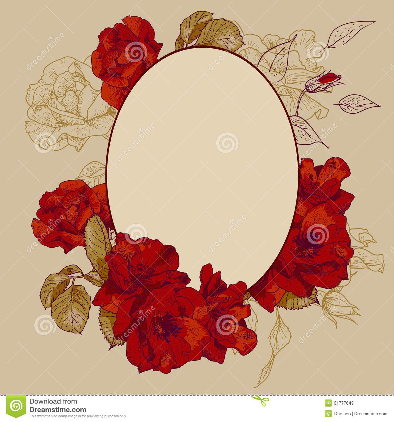Vintage Roses Oval Frame Royalty Free Stock Image - Image: 22857686 ...