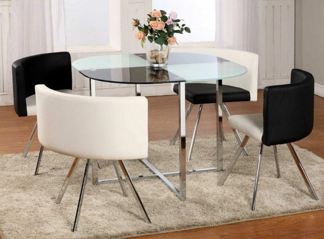 Glass Top Dining Table Ideas For Small Spaces With Stainless Steel Legs
