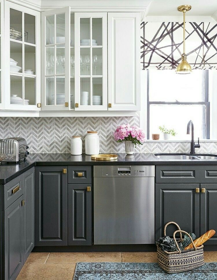 Beautiful Kitchen Grey And White Gold Accent Herring Bone Back