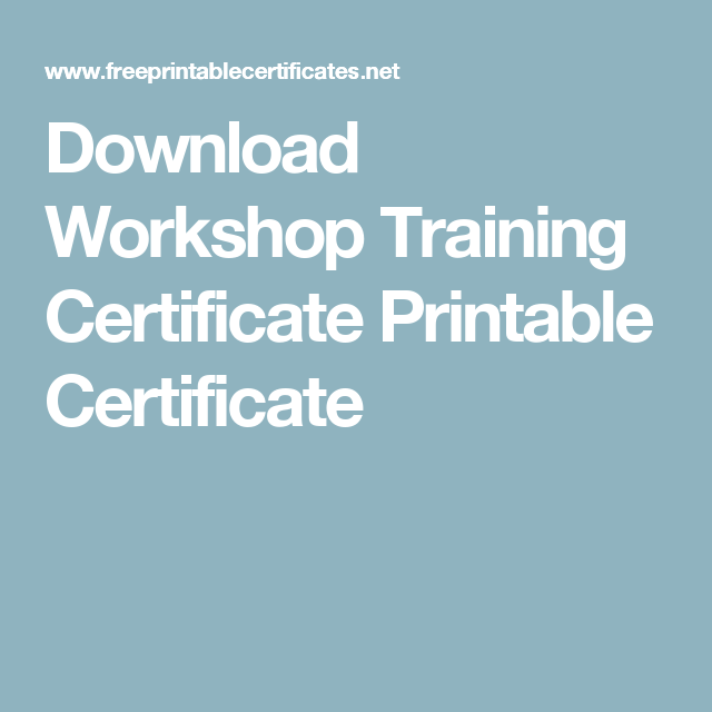 Download Workshop Training Certificate Printable Certificate