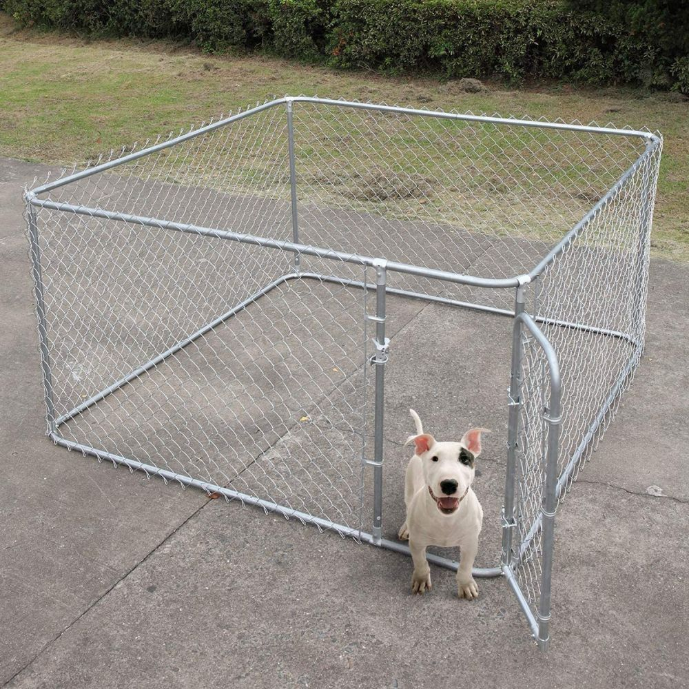 Jaxpety Open Top Chain Link Fence Dog Kennel Outdoor 10x10x6 Ft Jaxpety In 2020 Dog Kennel Outdoor Dog Stairs Dog Kennel