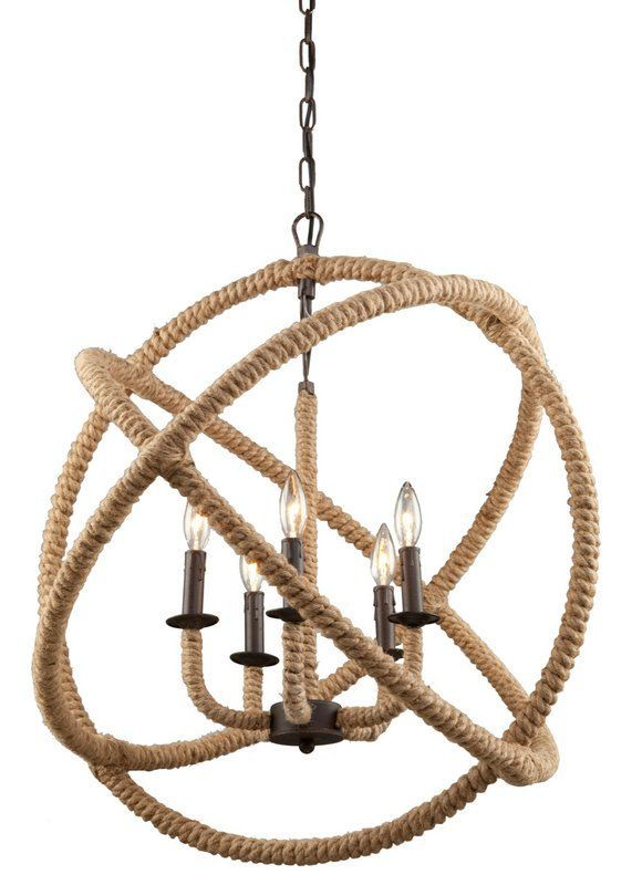 Large Rope Sphere Chandelier Wrapped Hoops Orbit A 5 Light Bronze In Fresh Natural Style That Harmonizes With Coastal Rustic Or Modern