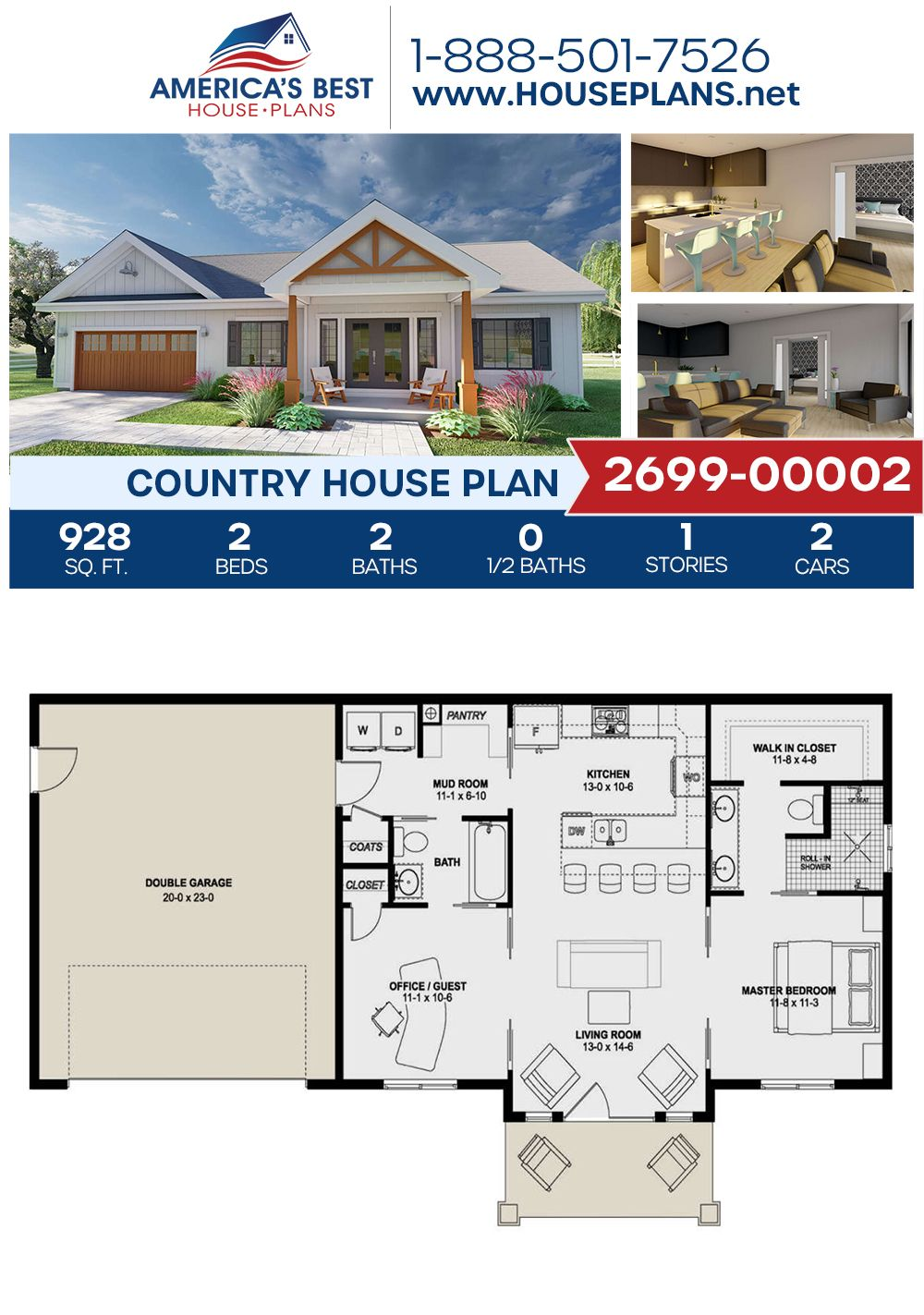 House Plan 2699 00002 Country Plan 928 Square Feet 2 Bedrooms 2 Bathrooms Small House Plans House Plans Small House Floor Plans