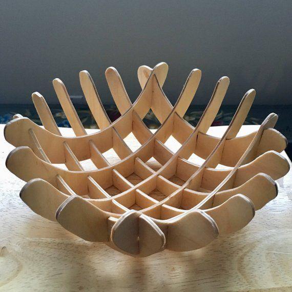 3D modèle petit bol gabarit en bois. Modèle de téléchargement numérique à bricolage sculpture moderne. Utiliser avec une coupe au laser, le routeur CNC ou la scie à chantourner