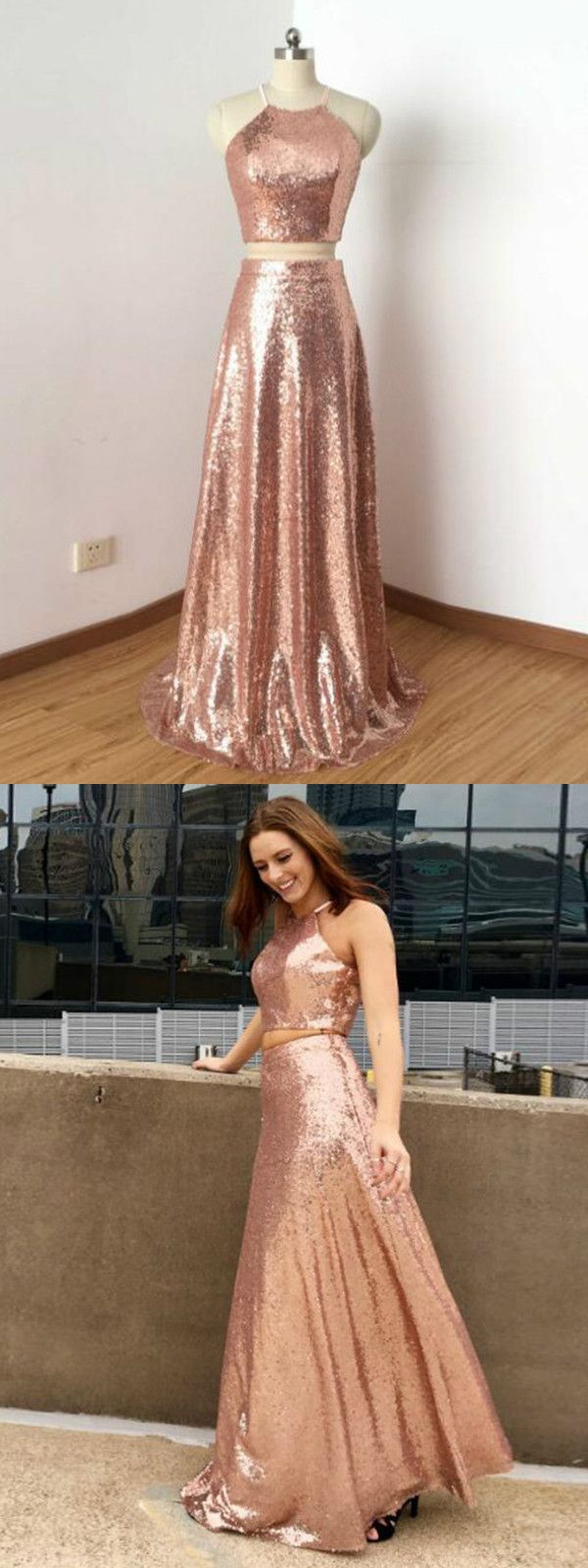 two piece prom dress lace pink cheap long prom dress vb