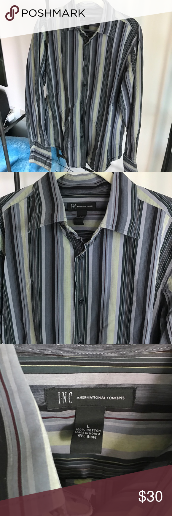 INC Mens Dress Shirt - Large - Worn Once Excellent INC Mens Dress Shirt - Large - Worn Once - Excellent Condition - Dry Cleaned Once after Wear - Beautiful Purple Light Green Striped Dress Shirt INC International Concepts Shirts Dress Shirts