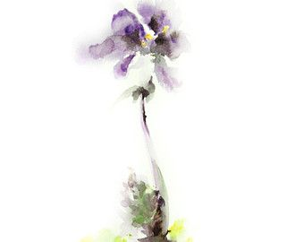Original Watercolor Painting, Purple Flower, Abstract Floral Art, Watercolor Art, Modern Art, Flower Painting