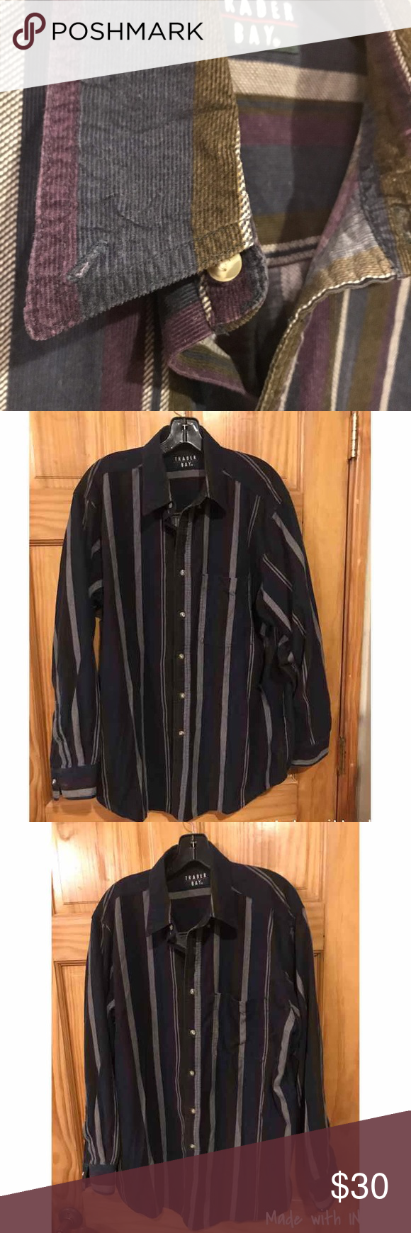 ef9e366d True Vintage 80's Button Up - Southwest Style Vintage 80s Trader corduroy  striped button up shirt - excellent condition! Retro stripes in navy, olive  green, ...