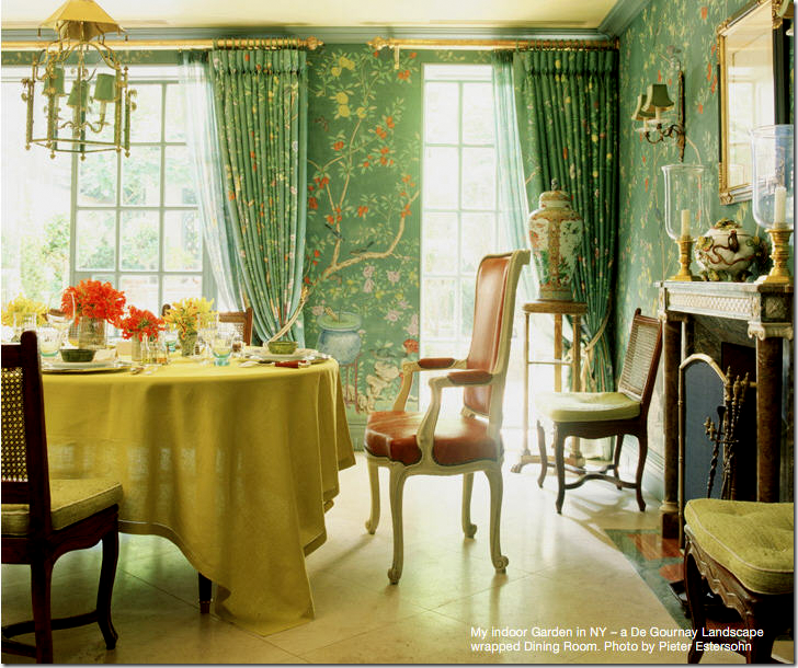 Dining Room With DeGournay Wallpaper And Curtains Charlotte Moss