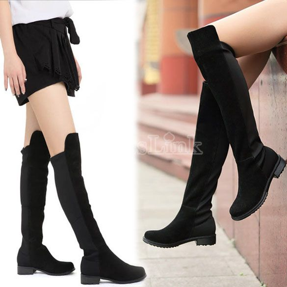 aaf4b2b72b27 Black Fashion Women s Shoes Over the knee Faux Suede High Flat Boots ...