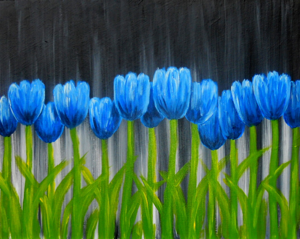Of tulips cecila san tags flower field photoshop vintage tulips - You Ll Enjoy Expressionistic Brushstrokes And Vibrant Palette Of This Painting The Blue Tulips Pop More Than The Blue Man Group Against Our Stylish Black
