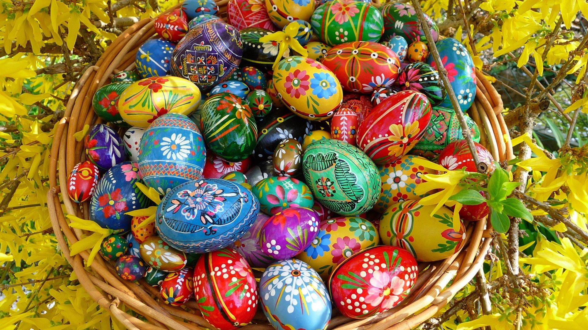 Download Wallpaper 1920x1080 Easter Eggs Basket Many Branches Flowering Full Hd 1080p Hd Backgro Easter Wallpaper Easter Egg Decorating Easter Egg Designs