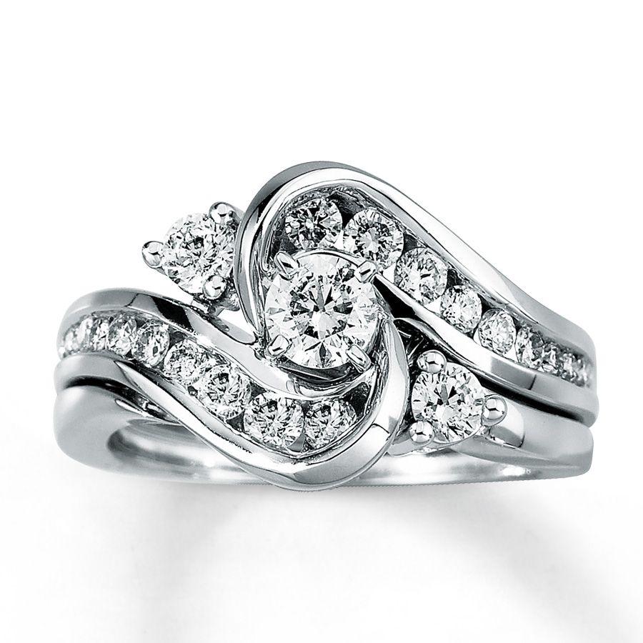 Kay Diamond Bridal Set 1 Ct Tw Round Cut 14k White Gold My