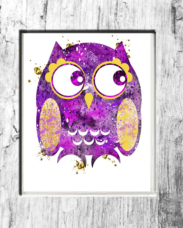 Wall Decor Purple Owl Print