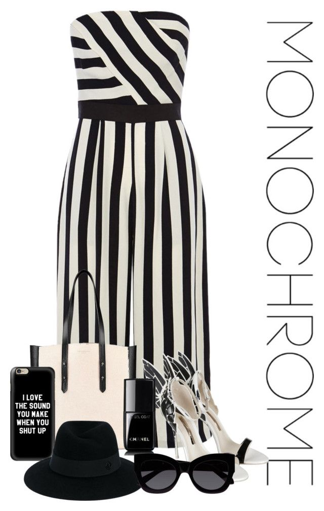 """""""Monochrome"""" by catfashionlover26 ❤ liked on Polyvore featuring Coast, Aspinal of London, Sophia Webster, Chanel, Casetify, Maison Michel, Karen Walker and monochrome"""