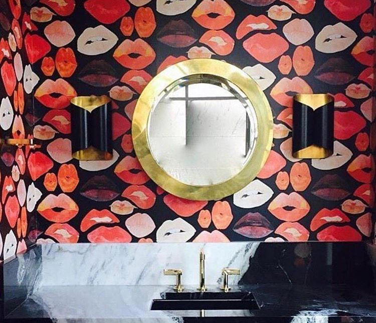 Powder room Voutsa Lips wallpaper Circa Lighting Selfoss sconce #lipswallpaper