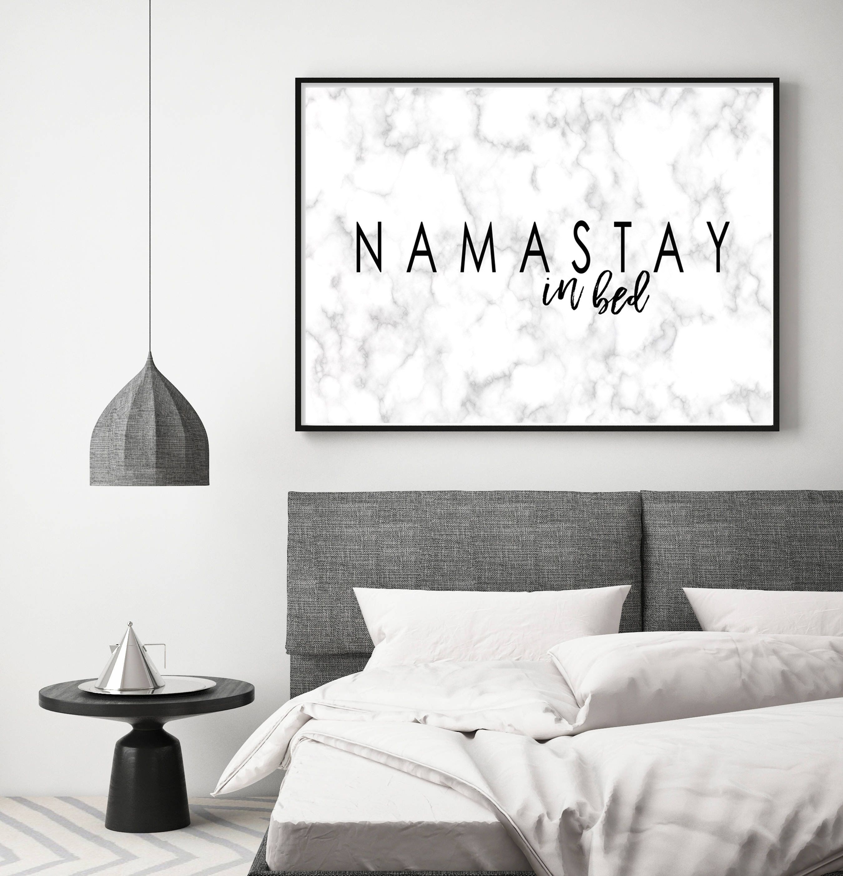 Namastay In Bed Print Namaste Marble Print Bedroom Decor Etsy Wall Decor Bedroom Home Decor Wall Decor Living Room