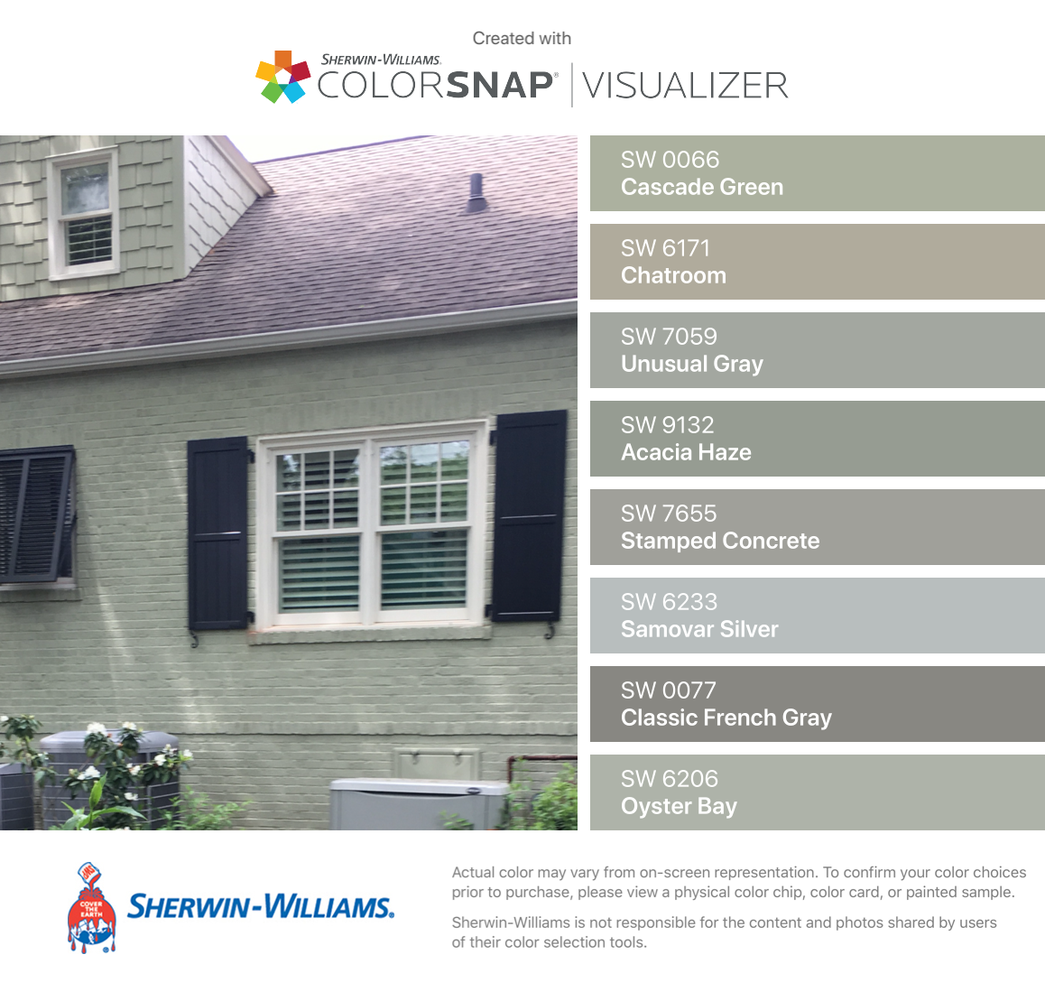 I Found These Colors With Colorsnap Visualizer For Iphone By Sherwin Williams Cascade Green