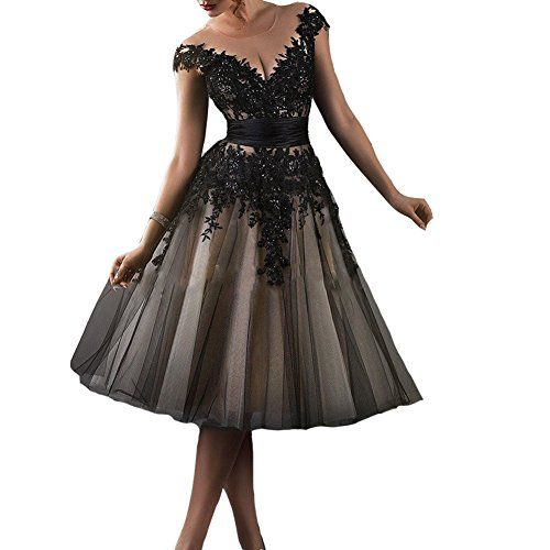 Kivary Womens Vintage Champagne and Black Short Knee Length Sheer Illusion Cap Sleeves Lace Prom Dresses US 20W >>> You can get more details by clicking on the image.