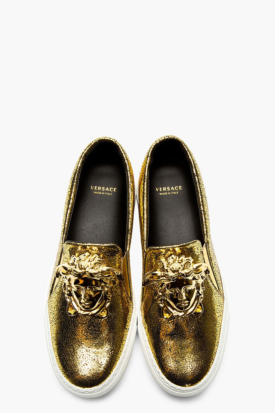 versace // gold medusa slip on shoes