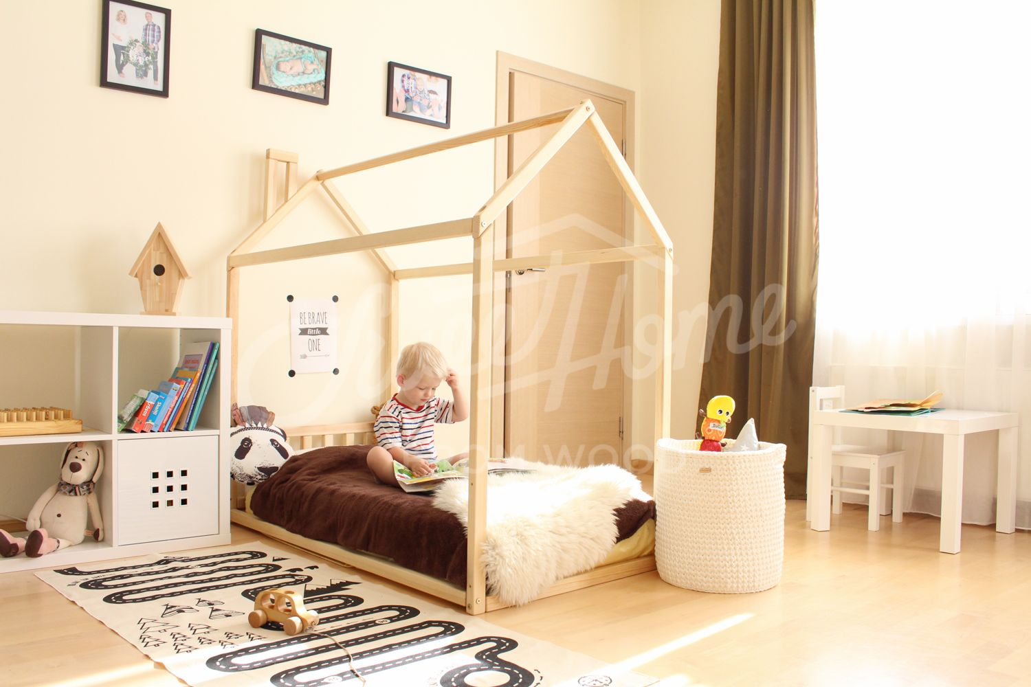 House Bed Children Home Toddler Floor Montessori Nursery Frame Original Baby Design HEADBOARD