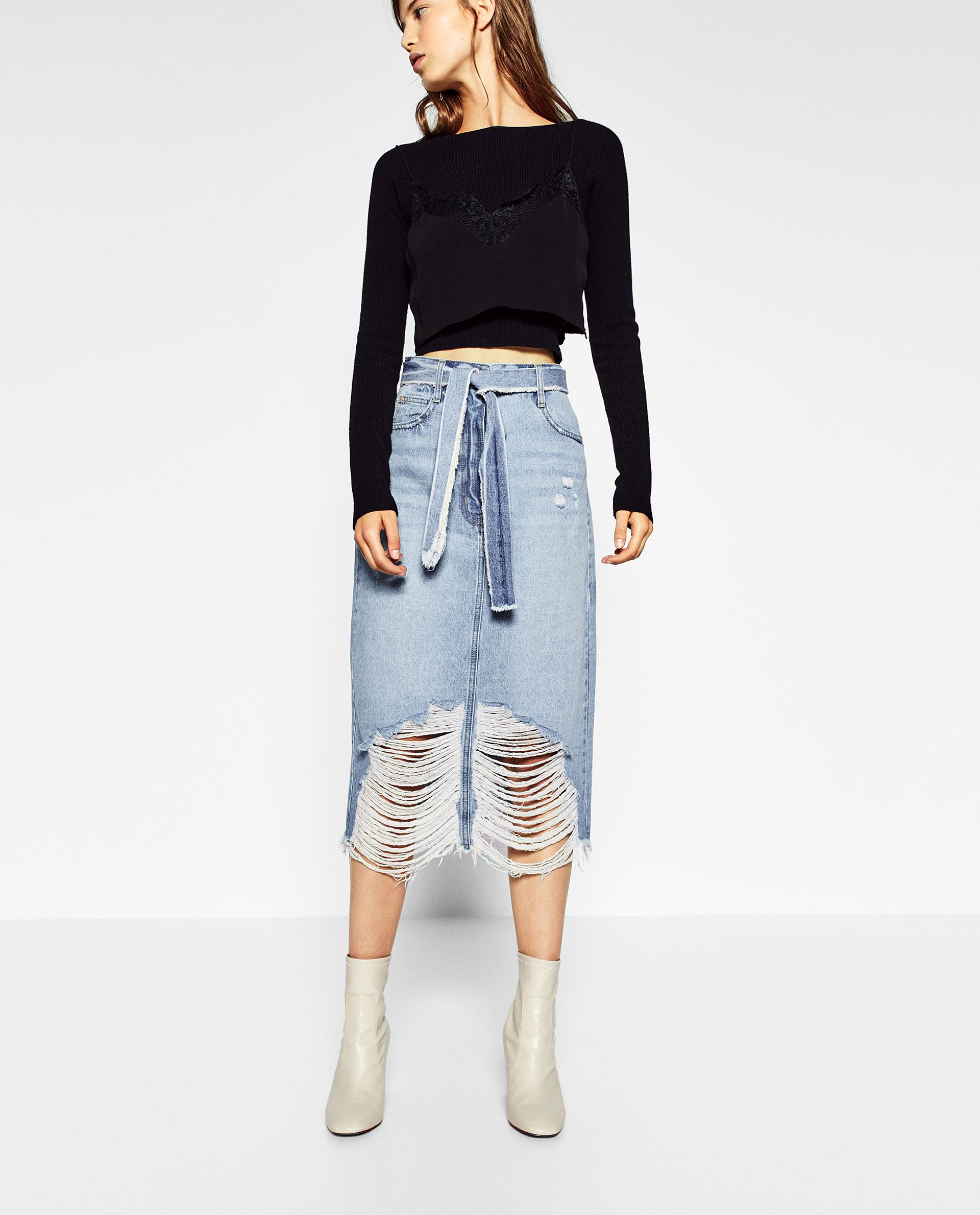 a13d97a38d Image 2 of RIPPED MIDI DENIM SKIRT from Zara