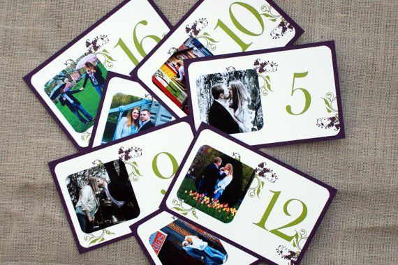 Personalized Photo Table Cards  Botanical, Garden  Green and Purple  Custom Colors Available is part of garden Table Yards - Custom Photo Table Cards Measuring 5 5  x 8 5 , these table cards feature your favorite photos and a table number  and your names and wedding date  Information included on the card may be customized to include your names, wedding date and location, photo location, etc  These flat cards are shown in a soft ivory cardstock layered on eggplant cardstock and are printed in eggplant and chartreuse inks   NOT THE RIGHT COLORS  Not a problem! Jones Street can customize cardstock and ink colors to fit your event   If you wish to place an order, please convo or email me with the number of table cards you require and any other requests or questions  I will then set up a reserved listing for you on Etsy   ORDER PROCESS 1  Place your order  2  Send an email to chrissy [at] jonesstreetpress com with good quality jpeg photos   3  I will email you with proofs for your acceptance  Given the customized nature of these cards please allow 2 weeks for production from the time your proof is approved  Thanks for finding your way to Jones Street!