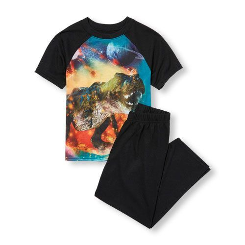 661000ee7efe9 s Boys Short Sleeve Photo-Real Space Dinosaur Graphic Top And Solid Pants  Pj Set - Blue - The Children s Place