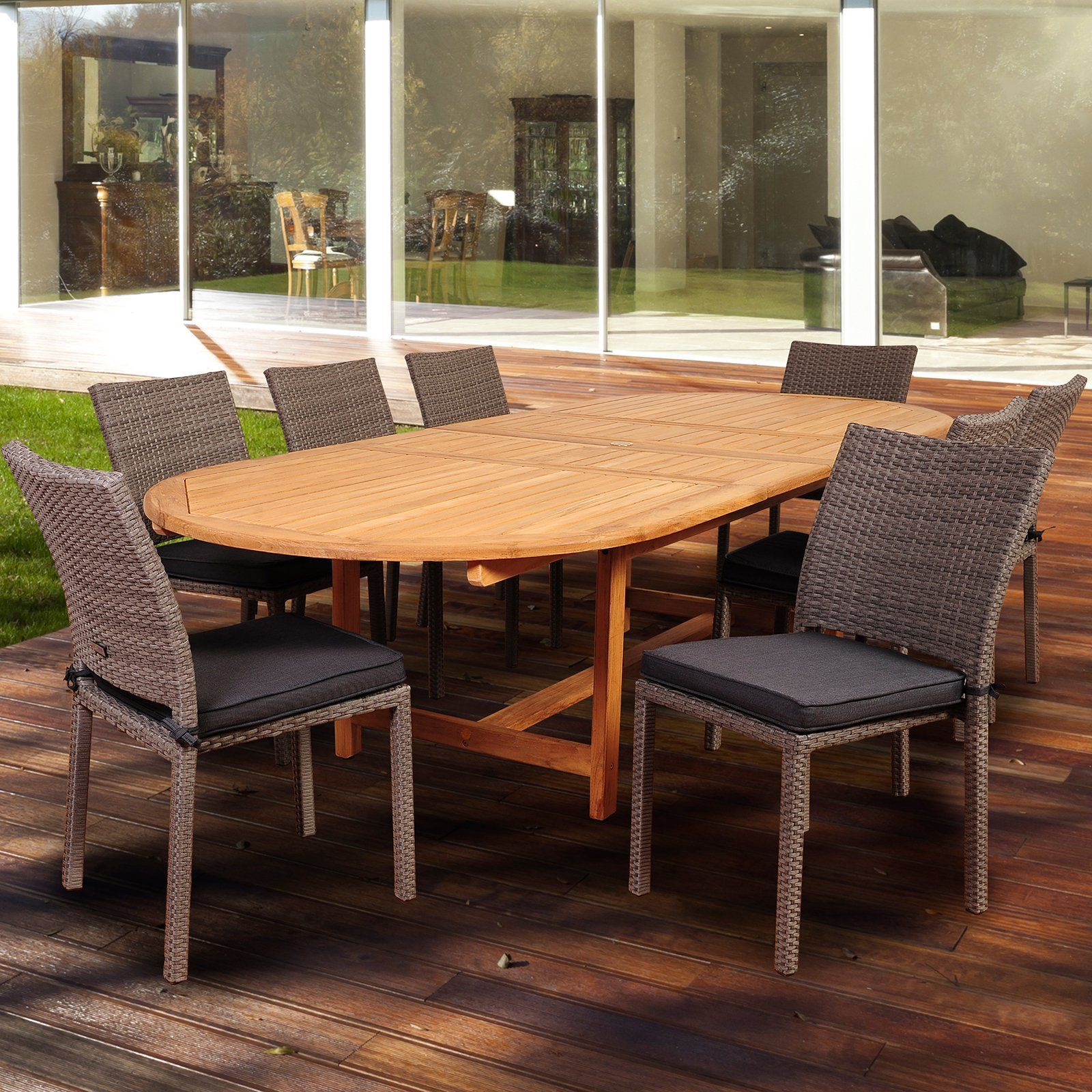 Vermont Extendable Garden Table And Chair Set: Amazonia East Point 9 Piece Double Extendable Dining Set