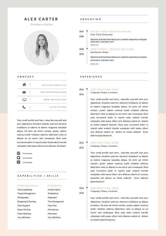 modern resume template  u0026 cover letter   icon set for