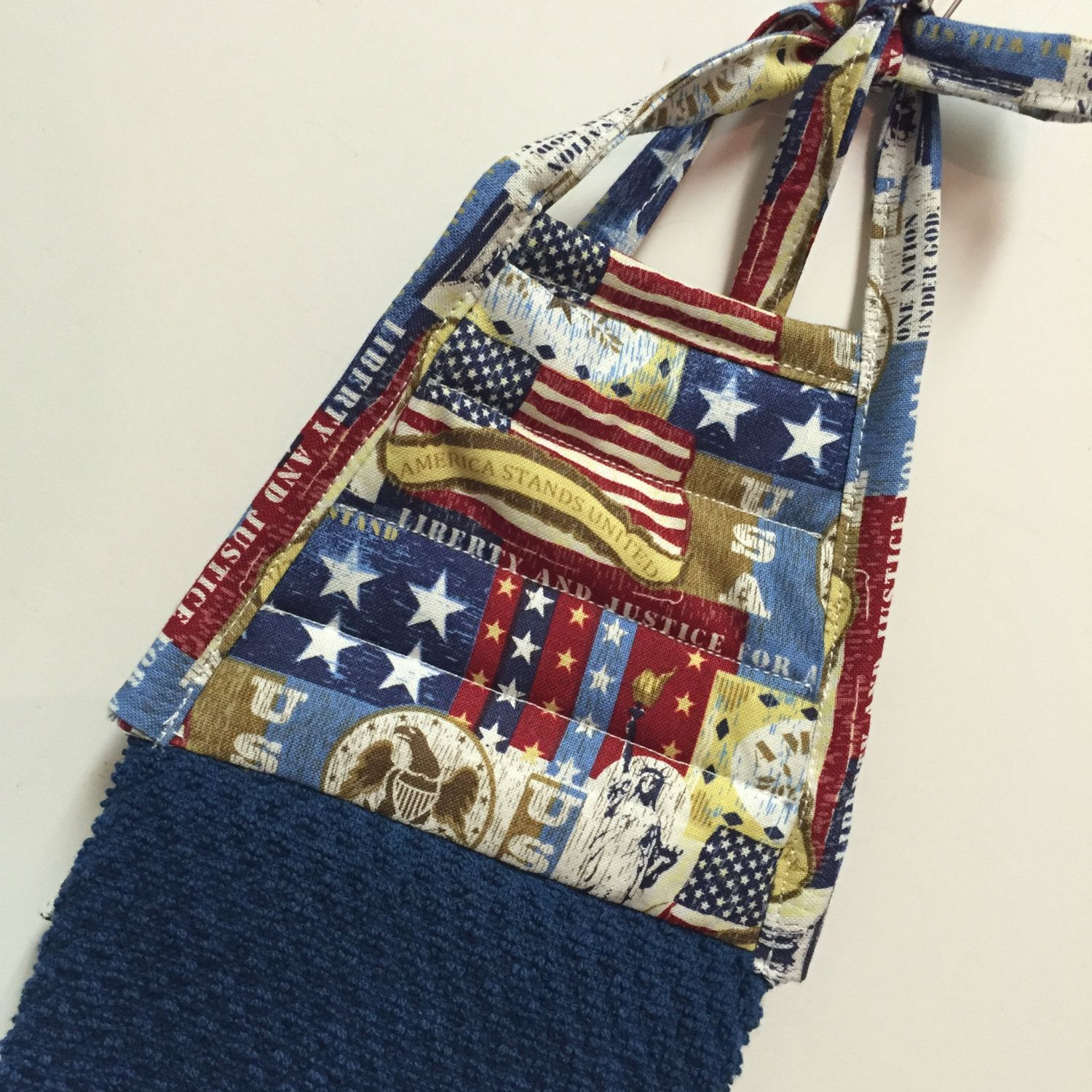 Charming Patriotic Kitchen Towel,Americana Towel,4th Of July,Hanging Towel,Red White
