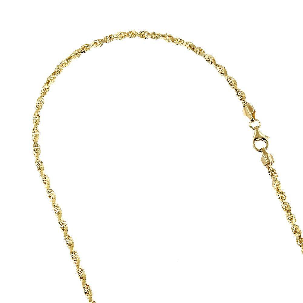 Luxurman solid k yellow gold mm wide rope chain diamondcut