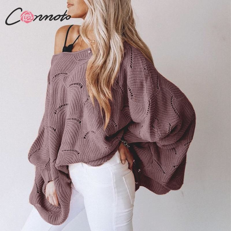 Photo of Conmoto 2019 Batwing Solid Sweater Women Casual Winter Sweater Jumper Hollow Out Loose Mujer Pullovers Plus Size | www.minogdin.com