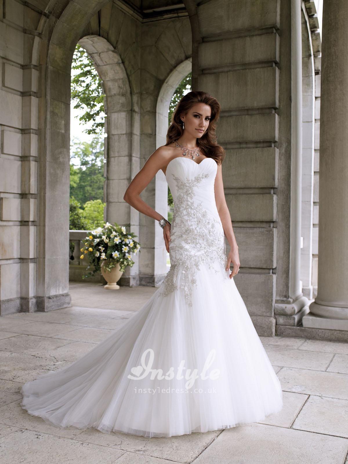 Beaded Mermaid Wedding Gowns Western Dress Uk With Sweetheart Neckline Hand